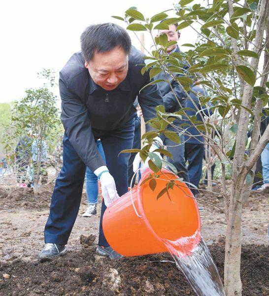 3月28日,省长李国英给刚种下的树苗浇水。记者 范柏文 摄
