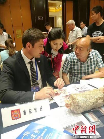 丁伦保与俄罗斯客人交流洽谈食用菌栽培技术合作 余皓 摄