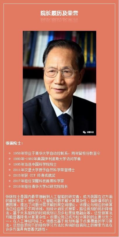 深醒科技首席科学家张钹院士担任清华大学AI研究院的院长